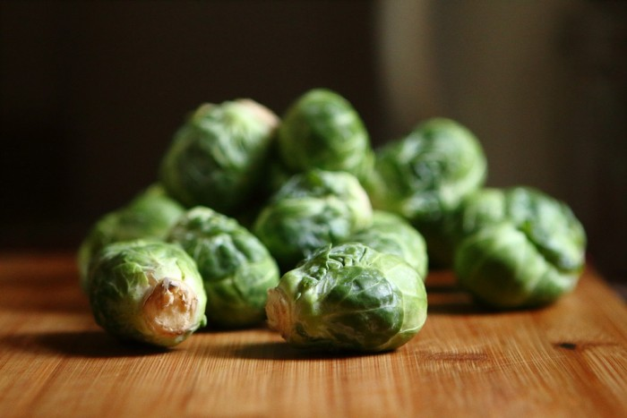 brussel sprouts on a butcher block